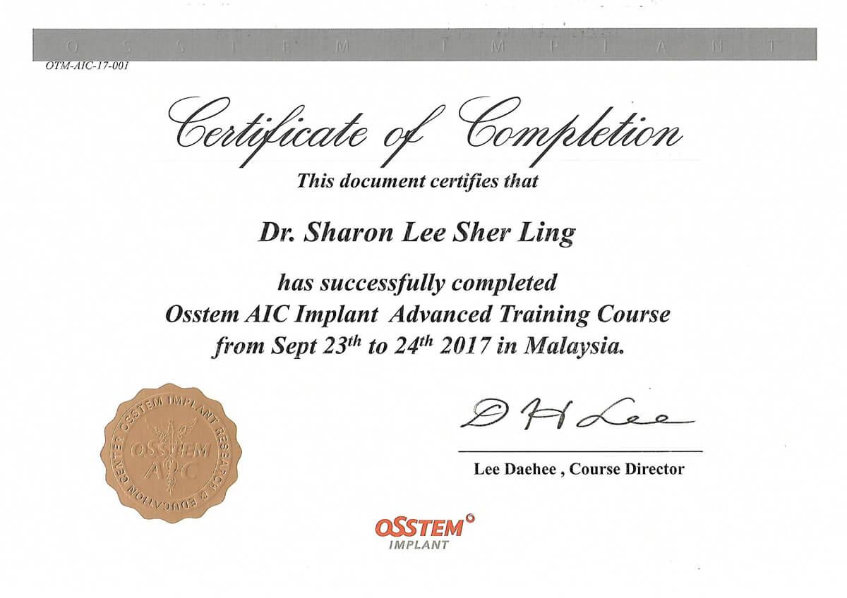 Implant Cert - Dr. Lee Sher Ling