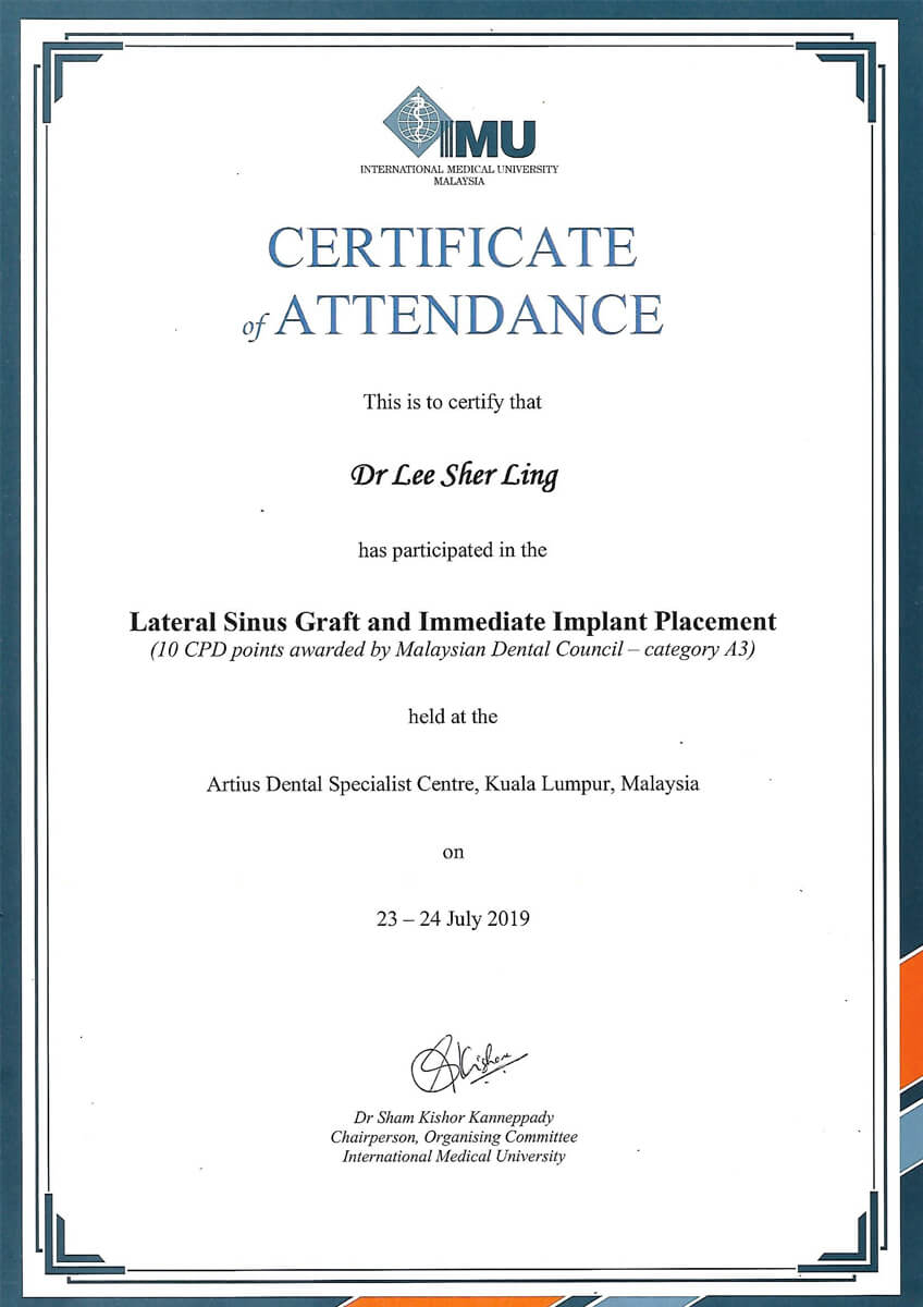 Lateral Sinus Graft Cert - Dr. Lee Sher Ling