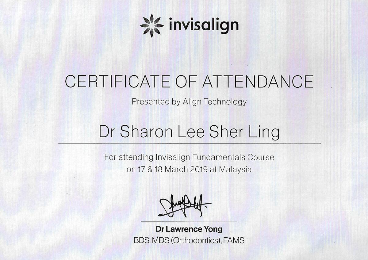 Invisalign Cert - Dr. Lee Sher Ling