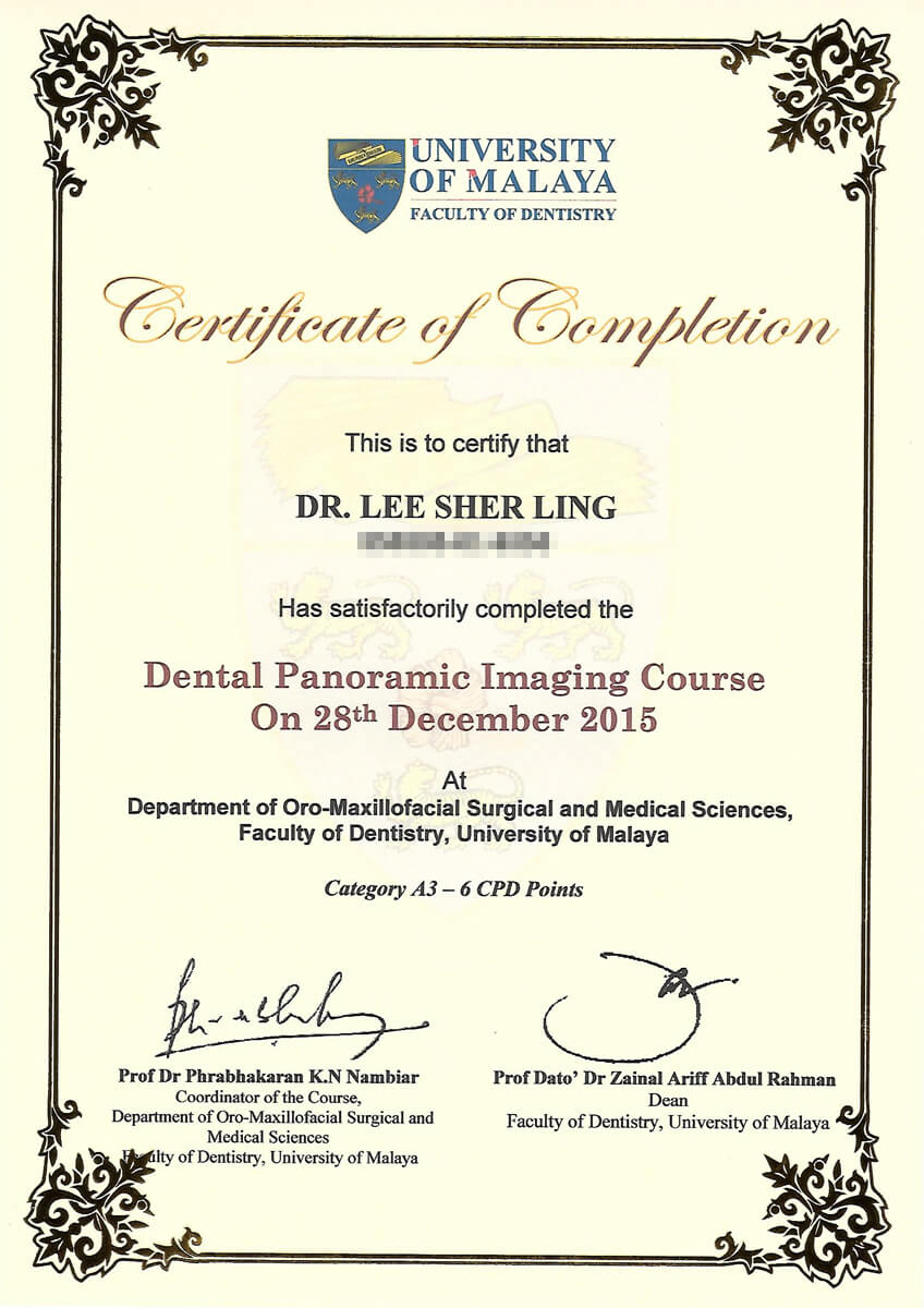 UM X-Ray Cert - Dr. Lee Sher Ling